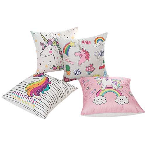 OldPAPA 4 Pcs Fundas de Almohadas Unicornio, Colorido Funda de algodón Estampado Unicornio Fundas de cojín para Hogar Decoración para Dormitorio