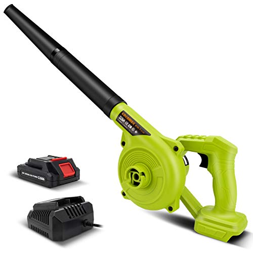 Leaf Blower, Cocomox 20V Leaf Blower Cordless with Battery and Charger, 150 MPH Electric Leaf Blower 2-in-1 Designed for Light Yard Work and Hard Surface Sweeping Variable Speed 2.0Ah Battery
