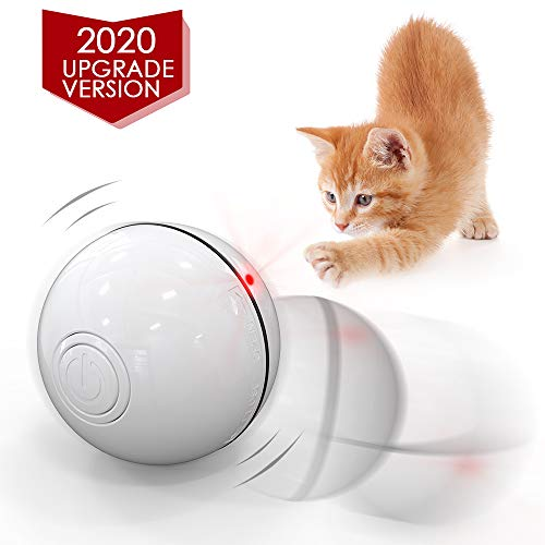with Spinning LED Light,Wicked 360 Degree Self Rotating Ball USB Rechargeable Pet Toy 2019 Upgrade Vision Smart Interactive Cat Toys Ball,Automatic Rolling Laucher Ball for Kitten White