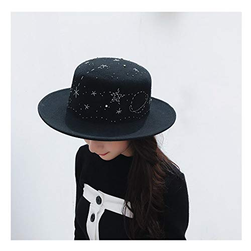 Xuguiping 2018 Nieuwe handgemaakte strass sterrenpatroon vrouwen Fedora hoed wolvilt zwart flatcap dames hoed xuguiping zwart
