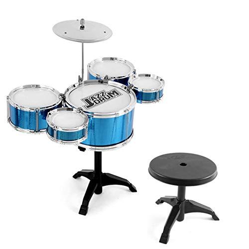 QIEZI Batería de Jazz Musical para niños, 5 Juegos de batería para niños con Taburete y Baquetas, Juego de batería para niños, Instrumento de percusión, Rompecabezas de educación temprana para niños