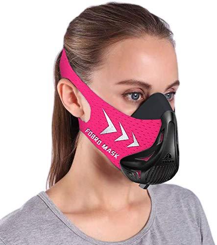 FDBRO Workout Mask Sports Mask Fitness for WomenRunning ResistanceCardioEndurance Mask for Fitness Training Sport Training Mask 30 with Carry Box Black Pink Medium