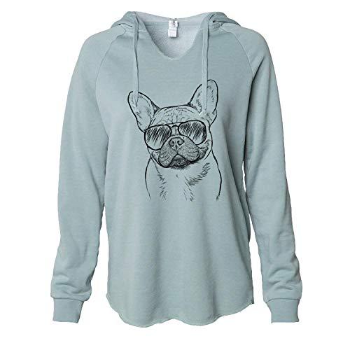 Inkopious Aviator Chew Chew The French Bulldog - Women's Cali Wave Hooded Sweatshirt -Sage Large