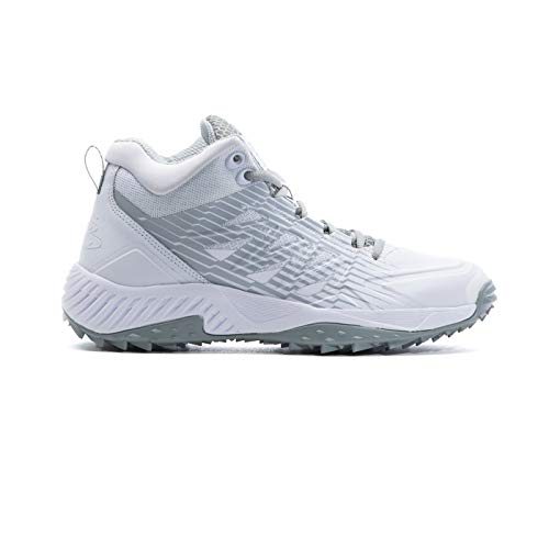 Boombah Men's Challenger Mid Turf Shoes White/Gray - Size 13