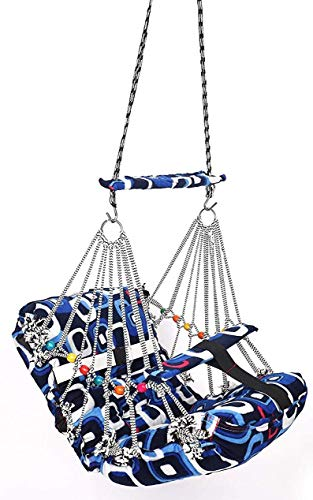 Baby Swing Khel Khilona Swing for Kids Baby's Children Folding and Washable 1-3 Years with Safety Belt Garden Jhula for Babies for Indoor Outdoor-Multi Colour
