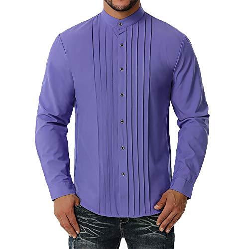 Derrick Aled(k) zhuke Camisa De Hombre OtoñO Nueva Camisa De Manga Larga Plisada De Negocios para Hombres Color SóLido Informal