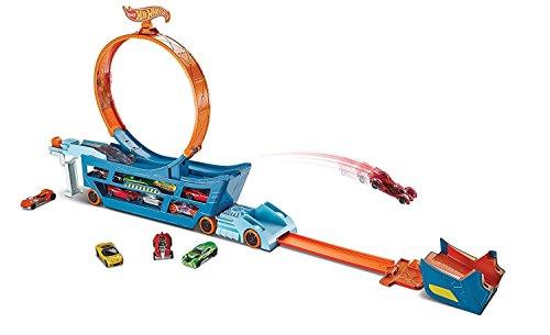Hot Wheels Camion Transporteur pour Contenir jusqu'à 19 Petites Voitures, avec Lanceur, Looping et un Véhicule inclus, Jouet pour Enfant, DWN56