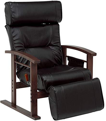 座椅子 高座椅子 パーソナルチェア リクライニング レバー式リクライニング ひじ掛け付き レザー ガス圧 高齢者 フットレスト 無段階 高さ調節可能 サイドポケットあり (ブラック)