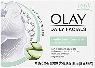 OLAY Daily Gentle Clean 5-in-1 Water Activated Cloths, 33 Ea (Pack of 3)