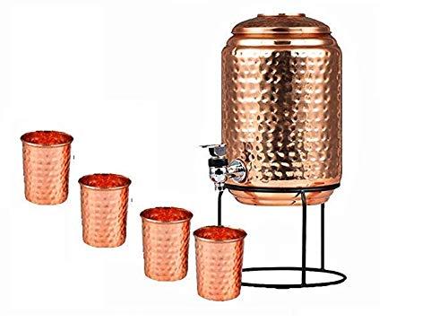 Dispensador de agua de cobre puro martillado con grifo y 4 vasos...