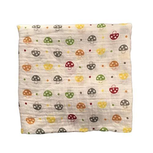 YUIO Manta de muselina para bebé de 120 x 120 cm, algodón 100 % recién nacido, toalla de baño para bebé, manta de múltiples diseños funciones (multicolor (hongo))