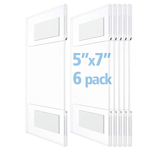 OFFICE MAJOR Acrylic Sign Holder 5x7 - Wall Mount Sign Holder with 3M Tape Adhesive, Office Door Sign, Plastic Frame Wall Sign Holder, Clear Wall Mount Frame (Box of 6)