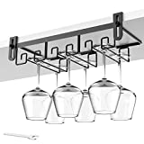 Hanging Wine Glass Rack Under Cabinet Mount, Metal Wine Glass Storage Hanger, Bar Wine Gla...