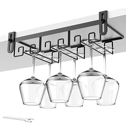 Hanging Wine Glass Rack Under Cabinet Mount, Metal Wine Glass Storage Hanger, Bar Wine Glasses Holder, Black Stemware Holder Rack Under Cabinet Wine Glass Holder Under Shelf Storage, Kitchen Organizer