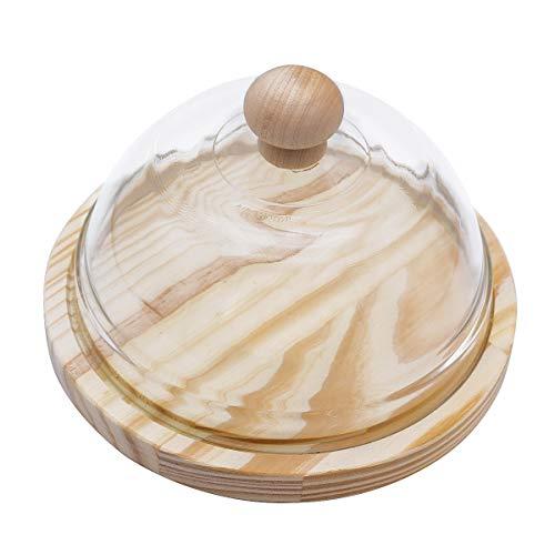 Quesera Redonda con Tapa de Cristal – Caja Queso Base de Madera – Ideal para Conservar Frescos Tus Quesos - Diámetro Ø 20cm