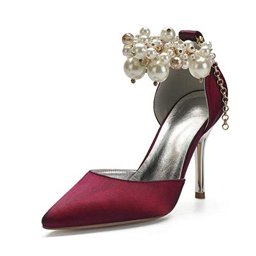 QXue - Zapatos de novia de satén perlado para dama de honor,...