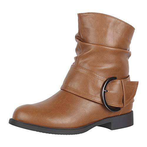 Elara Damen Stiefelette Gefüttert Schnallen Boots Chunkyrayan B9815-KB Camel-41