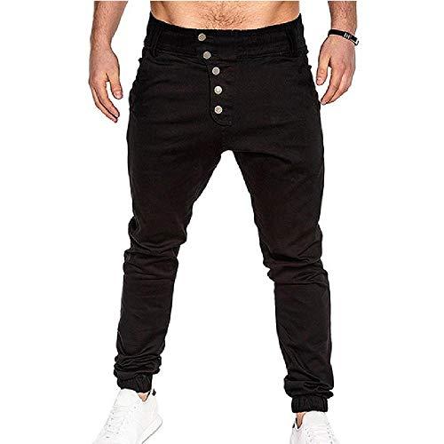 nobrand Herren Jogginghose Hip Hop Harem Jogginghose Streetwear Herren Slim Sweatpants Hose Neue Hose für Männer Gr. 34-37, schwarz 1