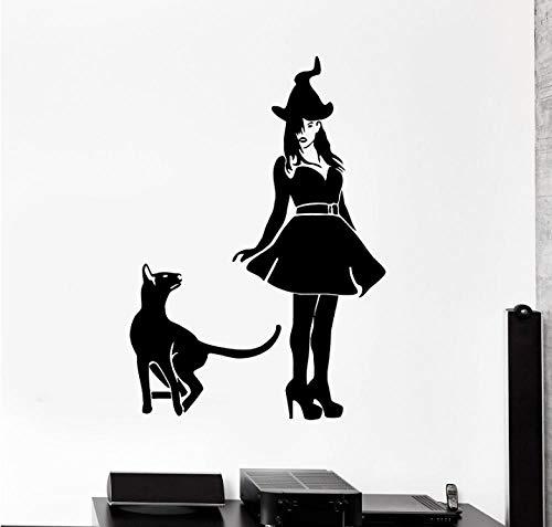 Muurstickers Applique Heks Kat Huisdier Halloween Heks Vinyl Kerstfeest Kinderkamer Kwekerij Vakantie Kunst 42X60 cm