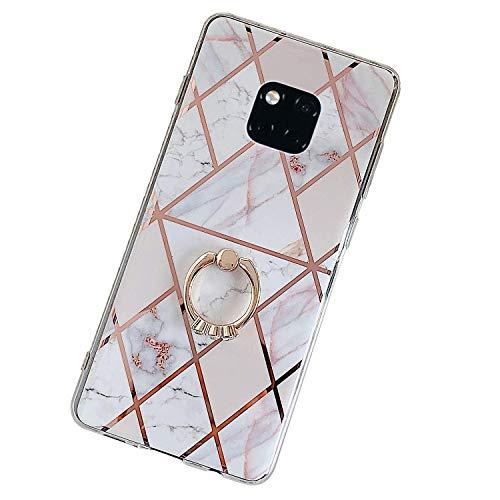 Herbests Kompatibel mit Huawei Mate 20 Pro Hülle Handyhülle Glänzend Glitzer Bling Marmor Muster Silikon Schutzhülle Soft Stoßfest Handytasche mit Diamant Ring Halter Ständer,Rosa Weiß