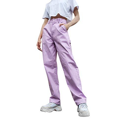FRAUIT Damen Lose Hosen Chino Hose Stoffhos Hohe Taillen Baggy Hip Hop Jogger Trainingshose Fracht Soild Keucht Elastische Taillen Taschen Beiläufige Hosen Regular Fit