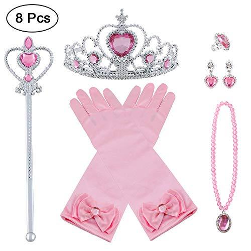 Vicloon Nuovi Costumi da Principessa Set Dono da Tiara, Guanti, Bacchetta Magica, Anello, orecchino, Collana da 3 a 9 Anni (Rosa)