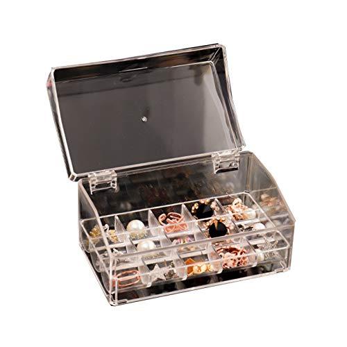 Recet Joyero para mujer, caja de almacenamiento de acrílico con tapa, para anillos, pendientes, collares, etc.
