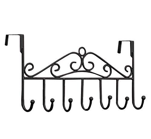 Youdepot Over The Door 7 Hanger Rack - Decorative Metal Door Hooks Hanger Holder for Home Office Kitchen Use Coat Hook Rack (Black)