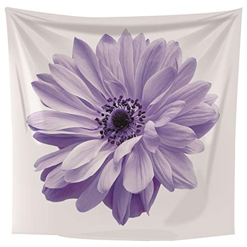 ANAZOZ Tapiz Indio Tela Poliéster Tapiz Suelo Piscina Rectangular Flor Púrpura Blanco Tapiz 210x140CM