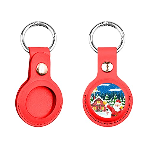 Santa Pattern Airtags Case Anti-Lost Leather Case Compatible with Apple Air Tag 2021 Protective Kids Pet Items Locator Cover Metal Keychain Hook Personalized Print (Red)