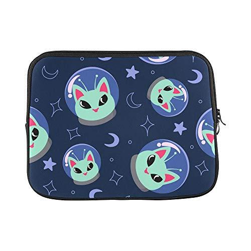 Design Custom Alien Cat Space On Blue Sleeve Soft Laptop Case Bag Pouch Skin for MacBook Air 11'(2 Sides)