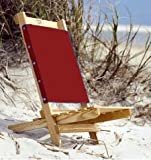 Tidewater Wood Beach Chair - Camp Chair Hand Made in USA with Ash Lumber (Red)