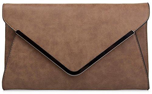 styleBREAKER Bolso de Mano Clutch, Bolso de Fiesta en diseño de sobre con Bandolera y Pasador para Llevar, señora 02012047, Color:Camel
