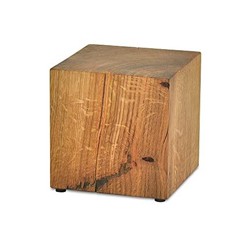 ms factory Holzblock Eiche Massiv - Handgefertigter Holzklotz - Rustikale Holzsäule - Beistelltisch Hocker Dekosäule - 25 x 25 x 40 cm