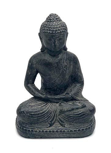 Fahome Buddha Figur Sitzend Deko Stein-Statue Lavasand ca. 20 cm Garten Skulptur Guss Grau klein