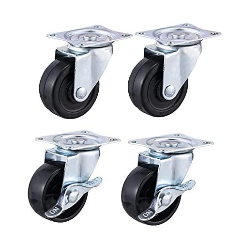 41IGyIBN5 S. SL500  - JOLIGAEA 4pcs Ruedas para Muebles con freno, 50mm Ruedas Pivotantes con placa de montaje y rodamiento de bolas, Ruedas Giratorias para suelos cerámicos, moquetas y duros, capacidad de carga 120 kg