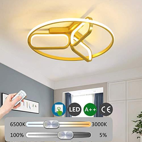 LED plafondlamp woonkamer lampen dimbaar metalen slaapkamer lichten met afstandsbediening trendy ronde aluminium plafondlamp acrylshade 39W gang eetkamer keuken verlichting gouden oslash; 55cm