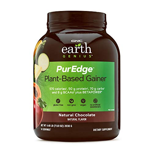 GNC Earth Genius PurEdge Plant-Based Gainer - Natural Chocolate, 14 Servings, 50 Grams of Plant-Based Protein