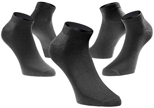 PHINOMEN 10er Set schwarze Sneakersocken - Füßlinge Damen 80% Baumwolle ideal für Sport Größe 35-38