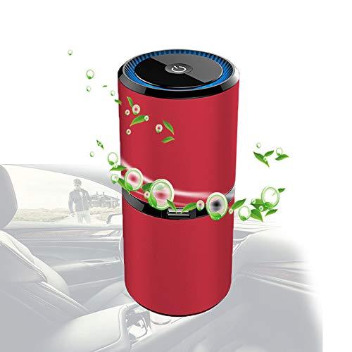 ORPERSIST Ionizador Purificador Aire, Generador Ozono Ajustable De Varias Velocidades Empezar con Coche Interfaz USB, Maquina de Ozono para En El Carro Baño Alacena,Rojo