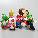 Super Mario Toys – Set of 6 Mario Figures with Luigi,Princess Peach, Yoshi, Donkey Kong, and Toad – Mario Action Figures – Mario Playset for Playing or Decoration