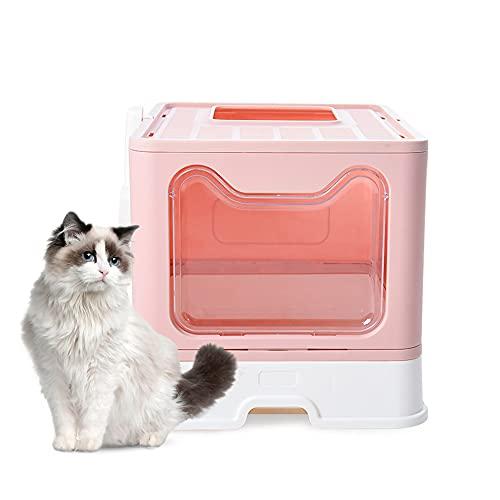 Bounabay Litière pour chat - Pliable - Entrée supérieure - Avec couvercle - Anti-éclaboussures - Facile à nettoyer - Sans odeur - Rose