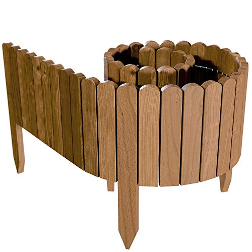 Floranica Spiked Log Roll Border as Easy Plug-in Fence, Palisade, 203 cm long (can be shortened) as Wooden Edging for Flower Beds, Lawns, Paths - Impregnated, Height:20 cm, Color:brown