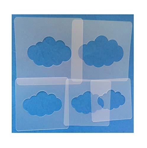 Schablonen Set ● 5 einzelne Wolken ● 7cm, 8cm, 9cm, 10cm und 11cm groß