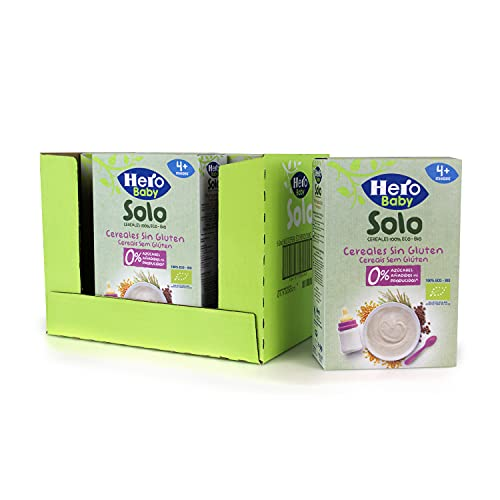 Hero Baby Papillas de Cereales Sin Gluten - Para Bebés a Partir de los 4 Meses - Pack de 6x220gr