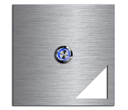 CHRISCK Design - roestvrij stalen deurbel Basic 12x12 cm vierkant met een bel-knop/LED-verlichting en mooie decoratieplaten van acrylglas naamplaat/belplaat