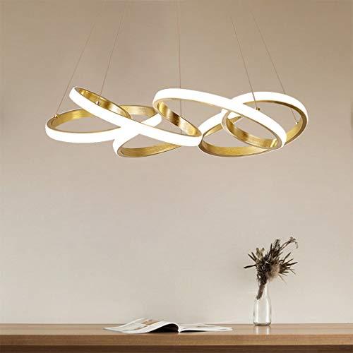 LED Pendelleuchte Einfache Schlafzimmer deckenlampe Gold Hängeleuchte 78W Dimmbar mit Fernbedienung Creative Metall und Acryl Pendellampe Wohnzimmer Küche Esstisch Kronleuchte Höhenverstellbar