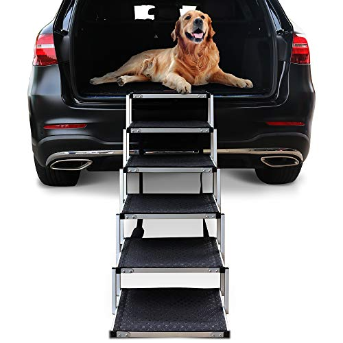 Niubya Folding Car Dog Steps Stairs, Lightweight Aluminum Portable 6 Step Pet Ladder Ramp for Medium and Large Dogs to Get into Car, Truck, SUV and High Bed, Supports 150-200 lb