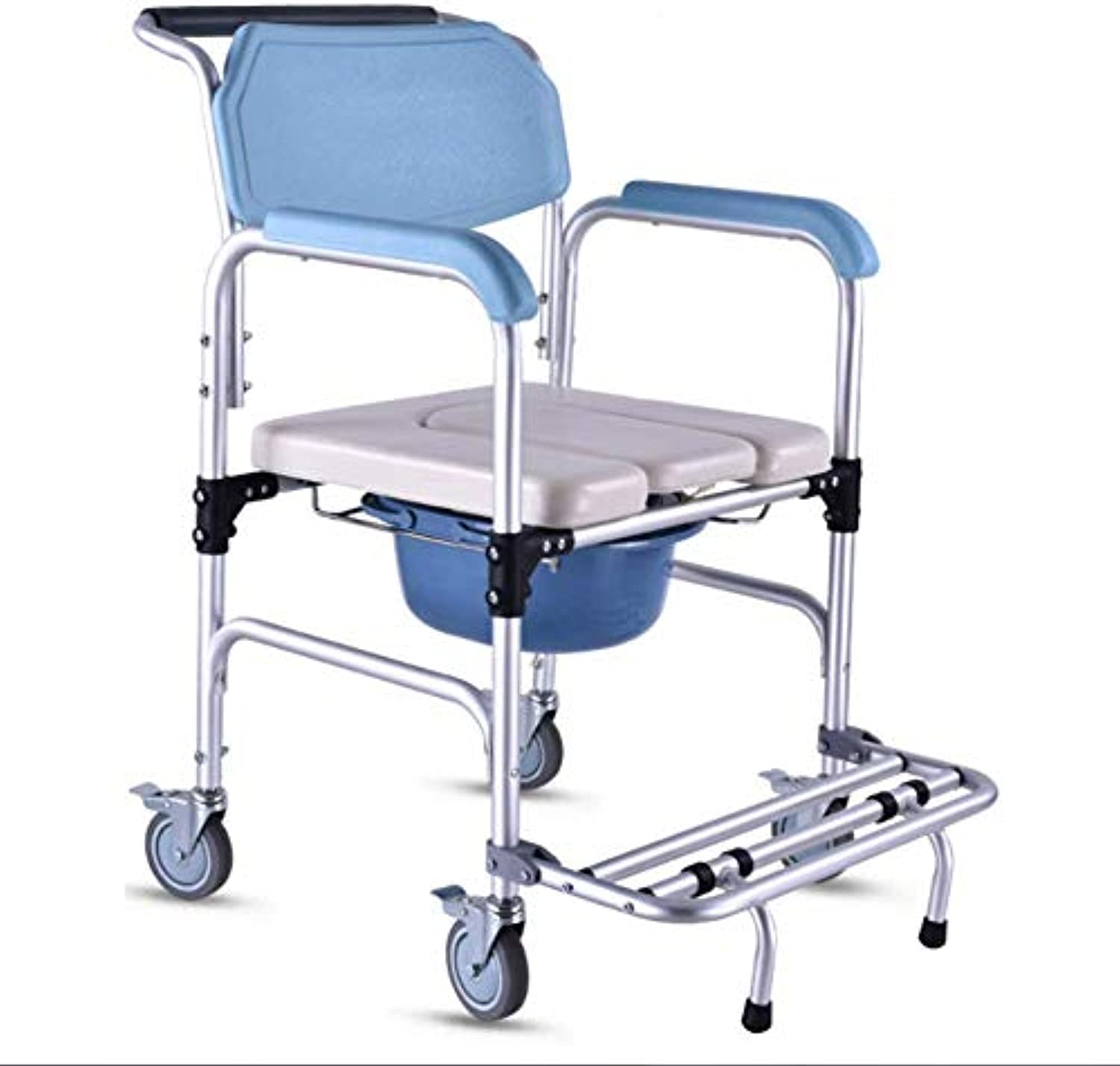 Shengshiyujia Kommode Chair for Toilet with Wheels & Pedal, Heavy Duty 350 lbs, Portable Bidet Chair Shower Bath Chair for Elder Disabled Disabled People Pregnant damen (Light Blau)