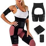 Unisoul Mujer Cintura Entrenador,4 en 1 Levantador de Culata y Muslo Recortadora,Cintura Alta Waist Trainer, Faja Adelgazante,para Entrenamiento, Fitness,Quema de Grasa, M Negro